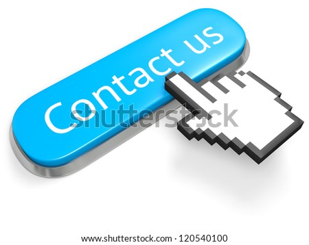 Blue button Contact us and hand cursor isolated on white