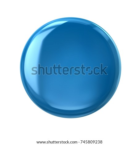 Blue button or badge 3d illustration on white background