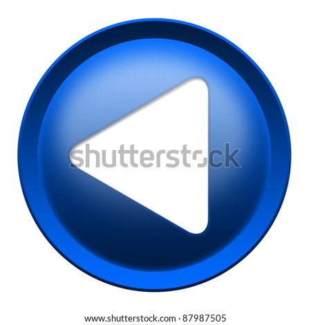 Blue button with white triangle turned left isolated over white background