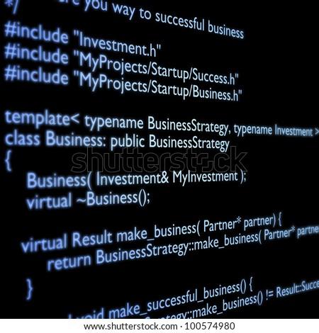 Blue C++ Code On Black Background Stock Photo 100574980 ...