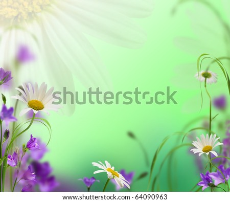 blue campanulas with daisywheel on green background