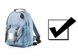 Blue Canvas School Backpack Isolated on White Background. Satchel Rucksack with Zippered Compartment. Side View of Travel Camping Daypack. Pretty Petrol Bag with Shoulder Straps and Haul Loop at Top