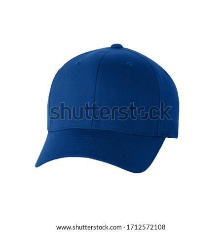Blue cap isolated on white background. Front  view it usuallty use for baseball