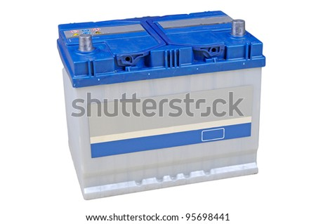 Blue car battery isolated on white background #95698441