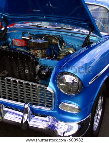 Blue car, classic car engine open