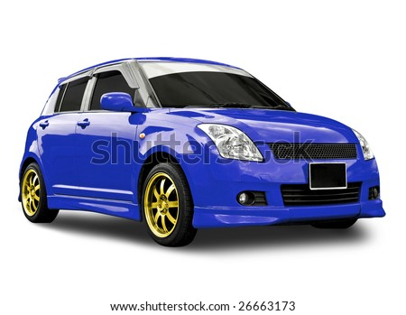 blue car isolated with clipping path