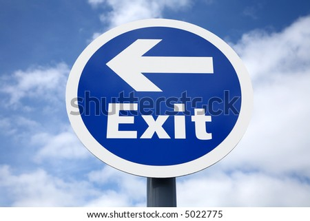 Blue car park exit sign with a left pointing arrow.