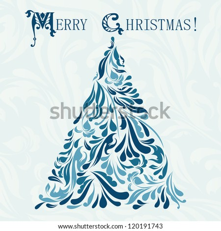 Blue card for merry Christmas raster version