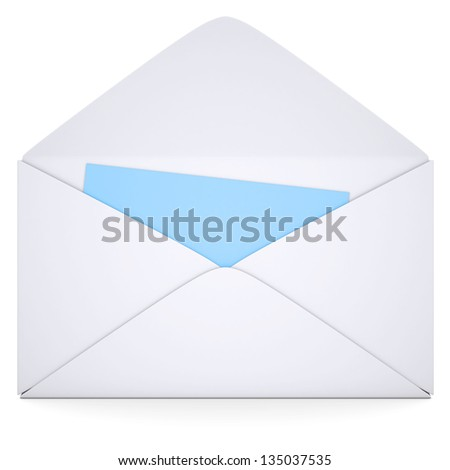 Blue Card in an open white envelope. Isolated render on a white background