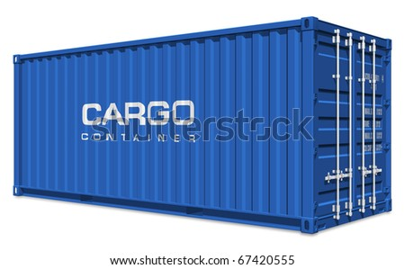 Blue cargo container - stock photo