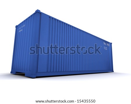 Blue cargo container against a white background
