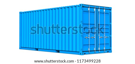 Blue cargo container shipping freight twenty feet. For logistics and see transportation. 3d Illustration, Isolated on white background
