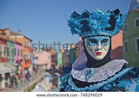 Blue carnival mask on Venice island Burano