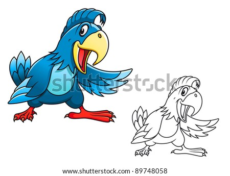 Blue cartoon parrot isolated on white background. Vector version also available in gallery