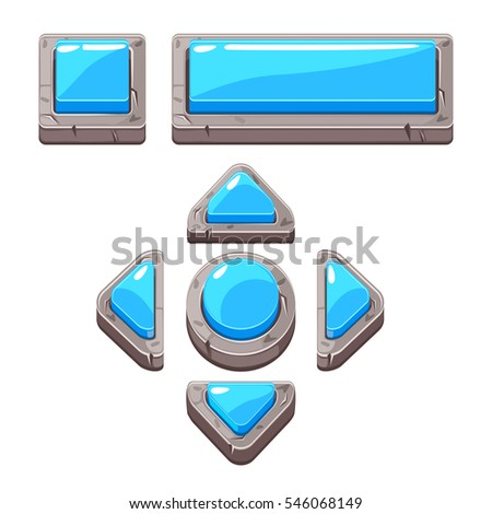 Blue Cartoon stone buttons for game or web design, gui elements set,