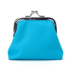 Blue cash wallet isolated on white background. Charge purse. Coin wallet.