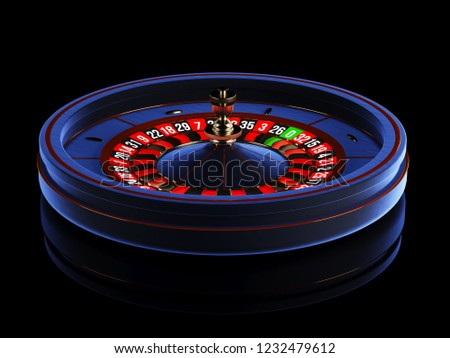 Blue Casino roulette wheel isolated on black background. Modern Casino roulette for poker table. Casino game 3D object. 3d rendering illustration