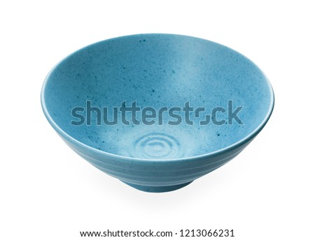 Blue ceramic bowl,  Empty bowl isolated on white background with clipping path, Side view