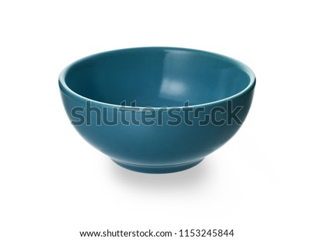 Blue ceramic bowl, Empty bowl or cup isolated on white background with clipping path, Side view