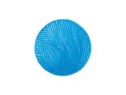 blue ceramic coaster isolated on white background