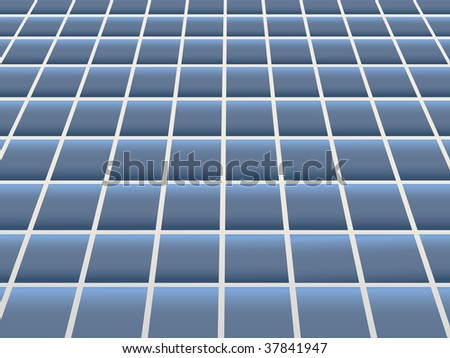 Blue Ceramic Floor Tiling - stock photo