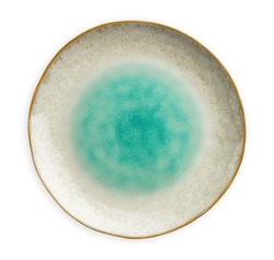Blue ceramic plate, Empty plate with sea pattern, isolated on white background with clipping path, Top view