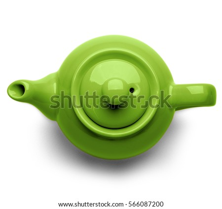 Blue ceramic teapot isolated on white background, top view.