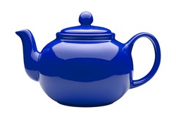 Blue Ceramic Teapot isolated on white with a clipping path.
