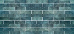Blue ceramic tile background. Old vintage ceramic tiles in blue to decorate the kitchen or bathroom.