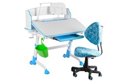 Blue chair, blue school table, green basket and desk lamp on the white isolated background.