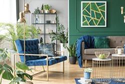 Blue chair in elegant modern living room interior