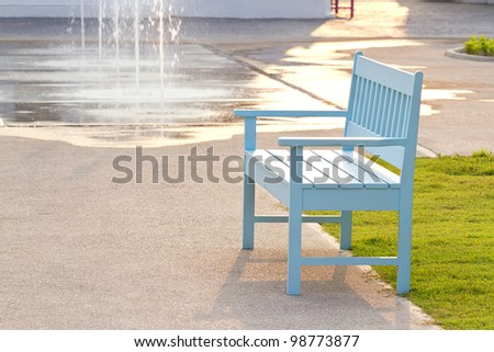 blue chair in the park