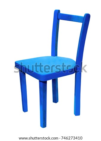 Blue chair on isolated white background
