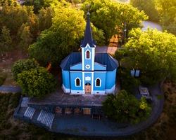 Blue chapel in Balatonboglar Hungary. The chapel it has on the Saint Erzsebet park next to red chapel..kormendí family built this in 1856. Hungarian name is Kék kápolna