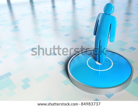 blue character onto a target with checkered background