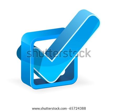 Blue check box with check mark