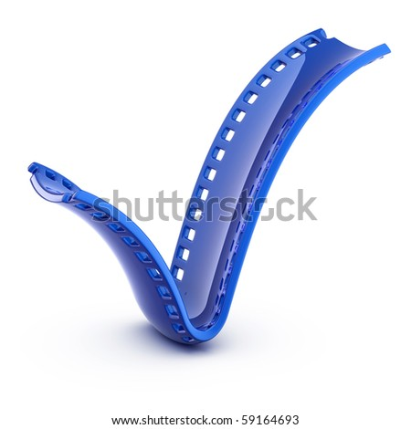 Blue check mark film isolated on white stock photo