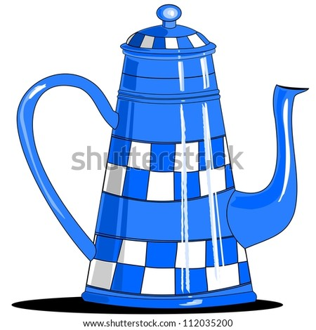 Blue checkered coffee pot.  Illustration of an old blue coffee pot that has a hand painted blue and white checkered pattern.