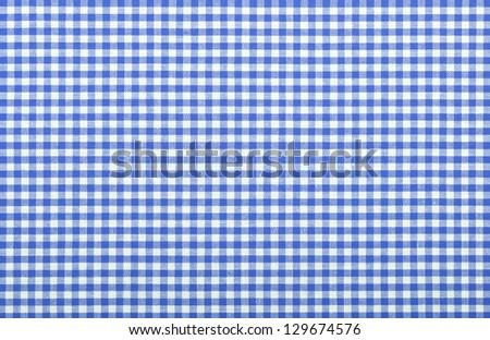 blue checkered fabric closeup , tablecloth texture - stock photo