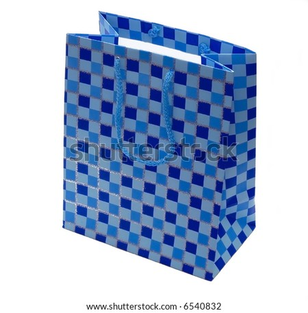 Blue checkered gift bag isolated on a white background