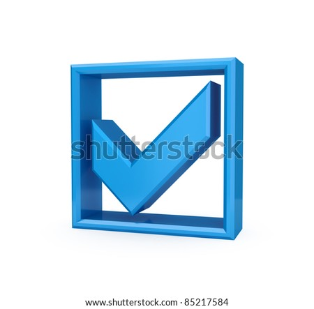 Blue checkmark icon. Isolated on white background. 3d rendered.