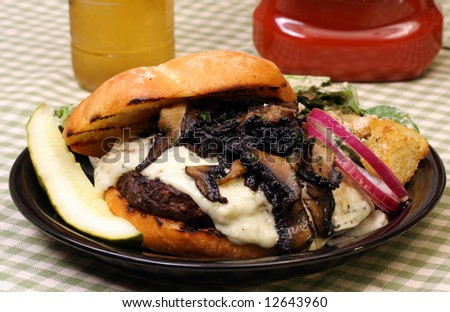 Blue Cheese Hamburger with Mushrooms