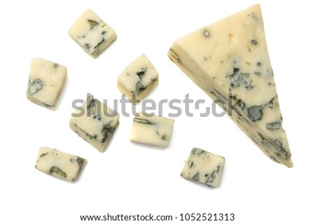 blue cheese isolated on a white background. top view