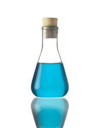Blue chemical liquid in flask