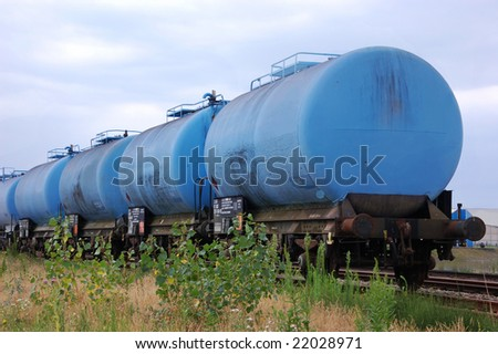 Blue chemical tank train wagon