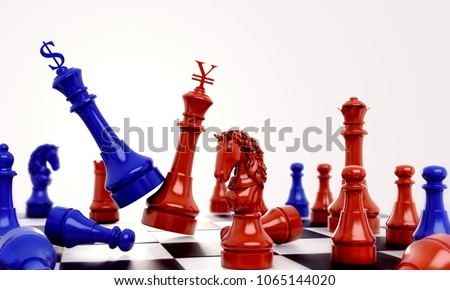Blue chess against  red chess with dollar and yuan renminbi sign logo. Design creative illustration for USA and China Tiongkok trade war. 3D rendering