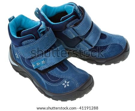 Blue child shoe isolated on white