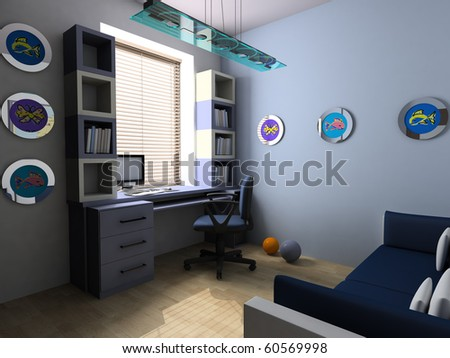 Blue children's room with a work place 3d image