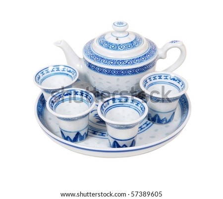 Blue china decorated tea set for a relaxing afternoon repast - path included