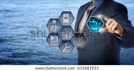 Blue chip civil engineer plugging a smart water metering icon into a virtual monitoring app. Concept for water resource management, water efficiency, environmental engineering and water conservation.